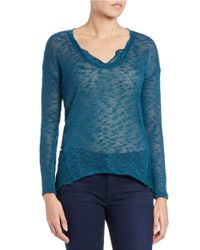 Jessica Simpson | Blue Hi-lo Knit Sweater | Lyst