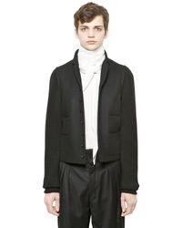 Christophe Lemaire Black Lambswool Knit & Felt Jacket for men