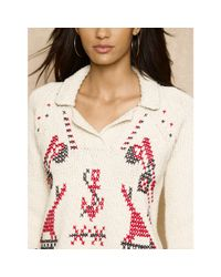 Ralph Lauren Blue Label - Natural Hand-Embroidered Sweater - Lyst