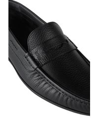 BOSS Black Moccasins In Grained Leather: 'flair_mocc_grpe' for men