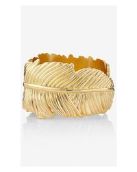 Express | Metallic Large Leaf Hinge Bracelet | Lyst