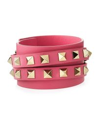Valentino | Metallic Rockstud Leather Wrap Bracelet | Lyst