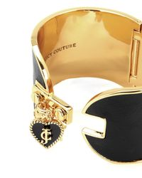 Juicy Couture | Black Wide Leather Cluster Charm Cuff Bracelet | Lyst