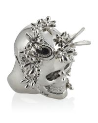 Alexander McQueen | Metallic Silver Flower Skull Cocktail Ring | Lyst