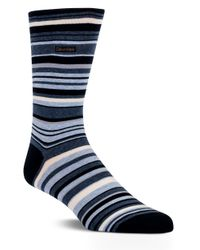 Calvin Klein | Blue Striped Barcode Sock for Men | Lyst