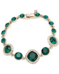 Givenchy | Gold-tone & Green Stone Flexible Bracelet | Lyst