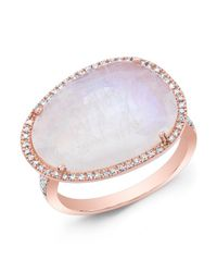Anne Sisteron | White 14kt Rose Gold Organic Moonstone Cocktail Diamond Ring | Lyst