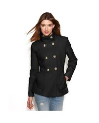 Jessica Simpson - Black Double-breasted Boucle Peacoat - Lyst