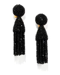 Oscar de la Renta | Black Short Beaded Tassel Clipon Earrings | Lyst