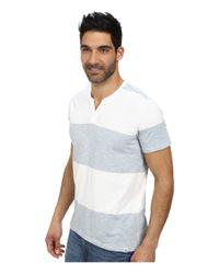 DKNY | Blue Short Sleeve Solid/feeder Stripe V-neck Henley for Men | Lyst