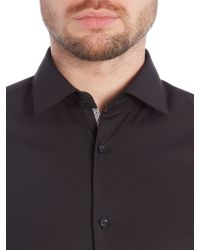 HUGO | Black Slim Fit Business Shirt With Contrast Trim for Men | Lyst