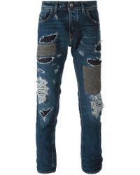 Diesel Black Gold - Blue Patchwork Ripped Jeans for Men - Lyst