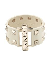 Valentino | Metallic Rockstud Leather Bracelet - White | Lyst