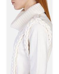 Karen Millen Natural Plaited Cable Cowl Neck Jumper