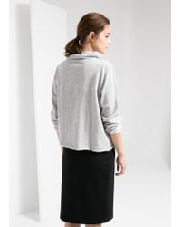 Mango - Gray Cowl Neck Sweatshirt - Lyst