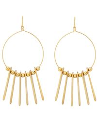 Kenneth Jay Lane - Metallic Triangular Pendant Hoop Earrings - Lyst