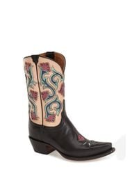 Lucchese | Black 'flower' Western Boot | Lyst