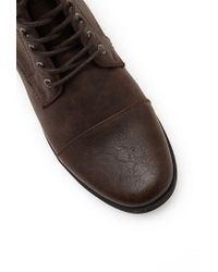 Forever 21 Brown Faux Leather Lace-Up Boots for men