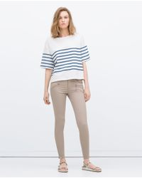 Zara | Natural Powerstretch Biker Jeans | Lyst