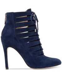 BCBGeneration | Blue Belini Suede Lace-up Booties | Lyst