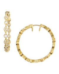 Penny Preville | Metallic Yellow Gold Mixed-Shape Diamond Hoop Earrings | Lyst