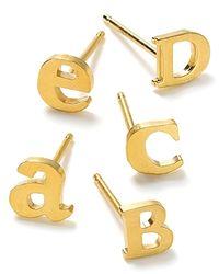 Dogeared - Metallic Single Initial Earring - Lyst