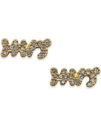 kate spade new york | Metallic Gold-tone Crystal Pavé Mrs. Stud Earrings | Lyst