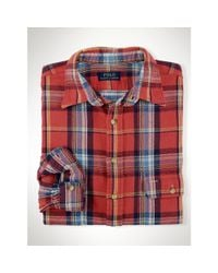 Polo Ralph Lauren | Red Slim-Fit Checked Linen Shirt for Men | Lyst