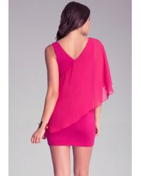 Bebe Pink Asymmetric Flutter Sleeve Dress