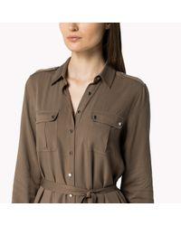 Tommy Hilfiger | Green Cotton Viscose Shirt Dress | Lyst