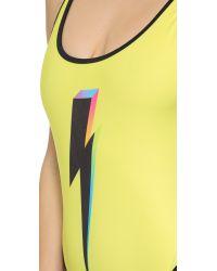 Wildfox Yellow Bolt 80S Zipper Swimsuit - Sun Shower