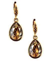 Givenchy | Metallic Goldtone Teardrop-shaped Crystal Drop Earrings | Lyst