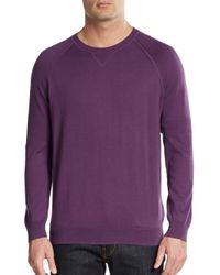 Vince | Purple Crewneck Cotton Sweater for Men | Lyst