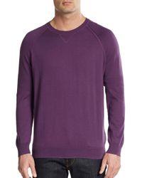 Vince - Purple Crewneck Cotton Sweater for Men - Lyst