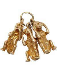 Annina Vogel Metallic Vintage Gold Three Monkeys Charm