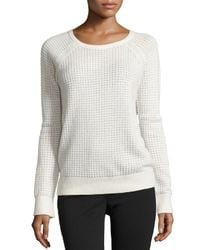 Vince - White Cashmere-blend Thermal Sweater - Lyst