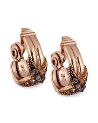 Jones New York - Metallic Goldtone Crystalwrapped C Hoop Clipon Earrings - Lyst
