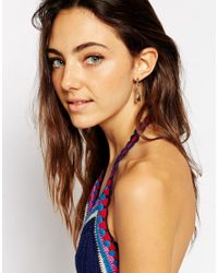 ASOS | Metallic Triangle Feather Earrings | Lyst