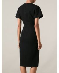 Proenza Schouler - Black Fitted Midi Dress - Lyst