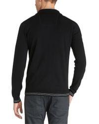 BOSS Green - Black Cotton-blend Sweater 'zime_pf' for Men - Lyst