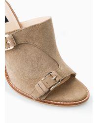 Mango Brown Heel Suede Mules