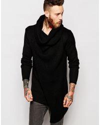 ASOS - Black Jumper With Oversized Cowl Neck for Men - Lyst