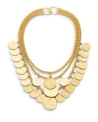 Kenneth Jay Lane Metallic Triple-row Coin Charm Necklace