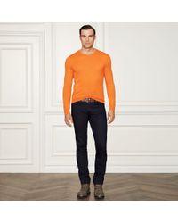 Ralph Lauren Purple Label - Orange Cashmere Crewneck Sweater for Men - Lyst