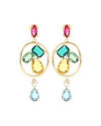Oscar de la Renta | Multicolor Crystal-embellished Clip-on Earrings | Lyst