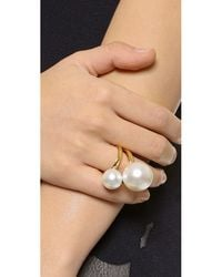 Kenneth Jay Lane - Metallic Double Imitation Pearl Ring - Pearl/gold - Lyst