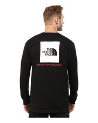 The North Face - Black Long Sleeve Red Box Tee for Men - Lyst