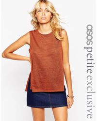 ASOS | Brown Petite Lightweight Tank Top With Side Split | Lyst