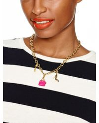 kate spade new york - Metallic Charm Link Necklace - Lyst