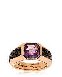 Ferragamo - Pink Galuchat Fine Jewellery Collection Ring - Lyst